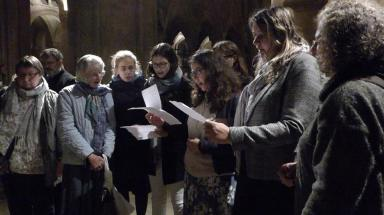 Singing troparion of St Frodeswide at her tomb in Christ Church2
